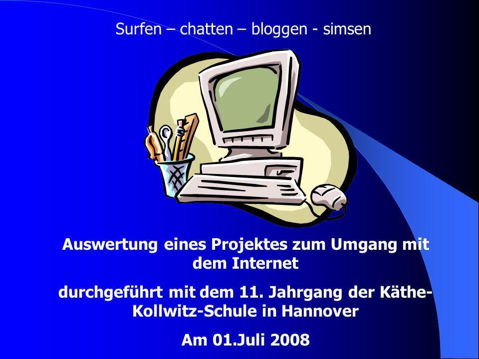 Surfen – chatten – bloggen - simsen Auswertung eines Projektes zum Umgang mit dem Internet durchgeführt mit dem 11. Jahrgang der Käthe- Kollwitz-Schul