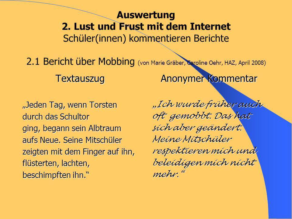 Auswertung 2. Lust und Frust mit dem Internet Schüler(innen) kommentieren Berichte 2.1 Bericht über Mobbing (von Marie Gräber, Caroline Oehr, HAZ, Apr