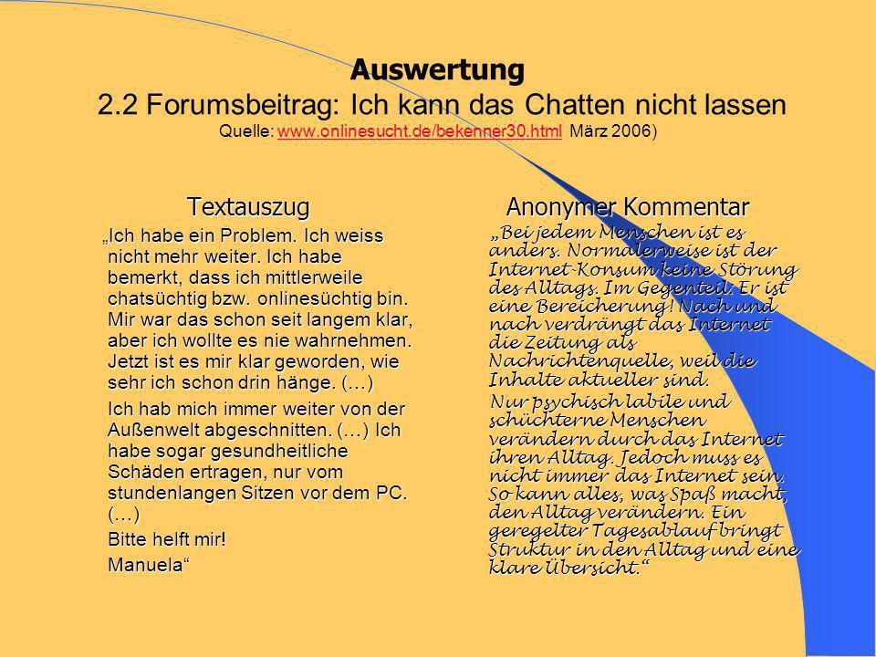 Auswertung 2.2 Forumsbeitrag: Ich kann das Chatten nicht lassen Quelle: www.onlinesucht.de/bekenner30.html März 2006)www.onlinesucht.de/bekenner30.html Textauszug Ich habe ein Problem.