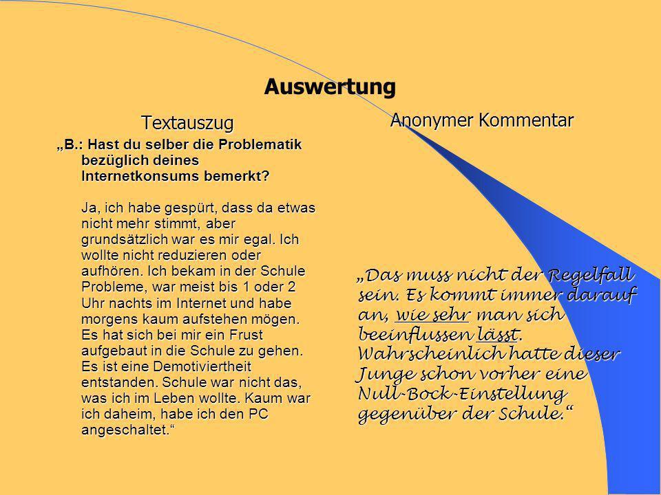 Auswertung Textauszug B.: Hast du selber die Problematik bezüglich deines Internetkonsums bemerkt? Ja, ich habe gespürt, dass da etwas nicht mehr stim