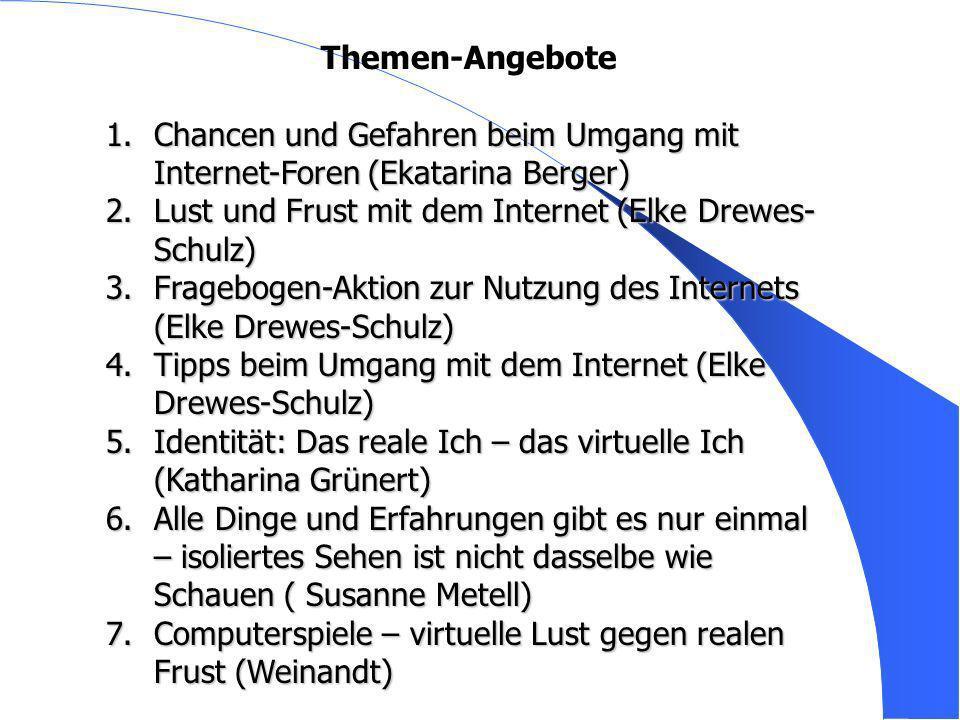 Themen Themen-Angebote 1.Chancen und Gefahren beim Umgang mit Internet-Foren (Ekatarina Berger) 2.Lust und Frust mit dem Internet (Elke Drewes- Schulz