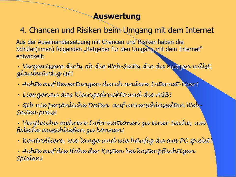 Auswertung 4. Chancen und Risiken beim Umgang mit dem Internet Aus der Auseinandersetzung mit Chancen und Risiken haben die Schüler(innen) folgenden R