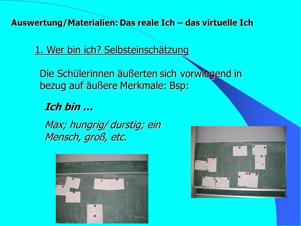 Auswertung/Materialien: Das reale Ich – das virtuelle Ich 1.
