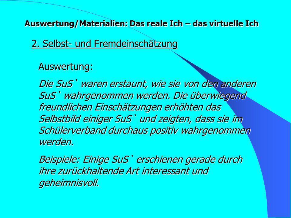 Auswertung/Materialien: Das reale Ich – das virtuelle Ich 2.