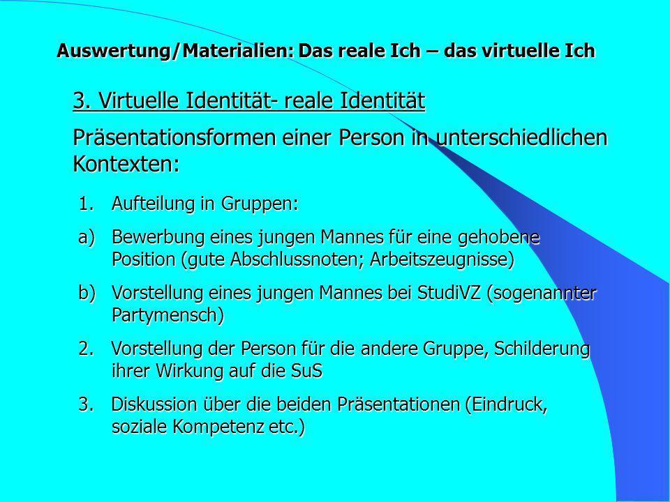 Auswertung/Materialien: Das reale Ich – das virtuelle Ich 3. Virtuelle Identität- reale Identität 1.Aufteilung in Gruppen: a)Bewerbung eines jungen Ma