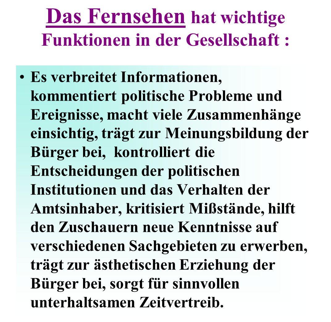 Fernsehlandschaft Deutschland: Über 30 Fernsehprogramme sind durchschnittlich pro Haushalt zu empfangen - öffentlichrechtliche und private.