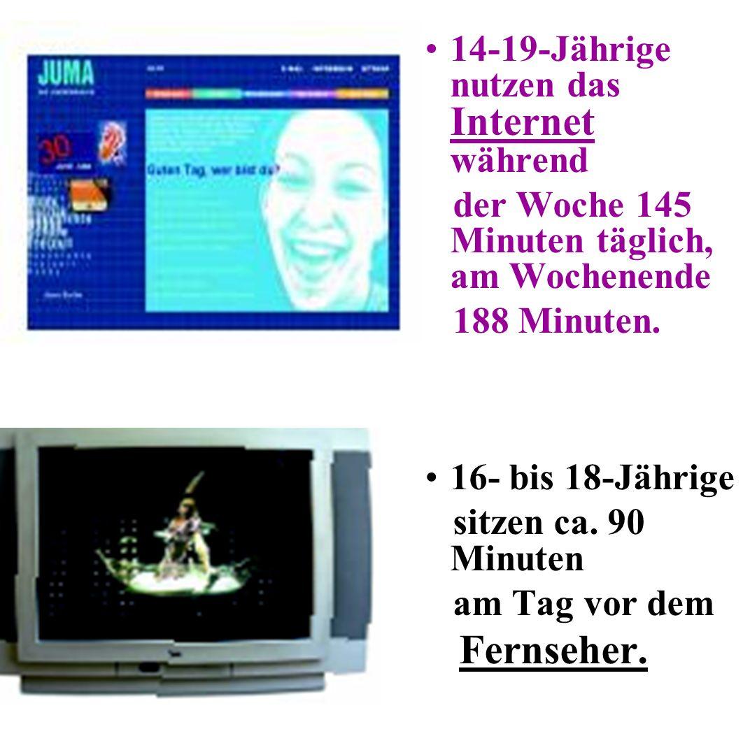 Deutlich anders: Die Jugend sieht genauso viel Fernsehen wie die Gesamtbevölkerung, nutzt aber häufiger das Internet.