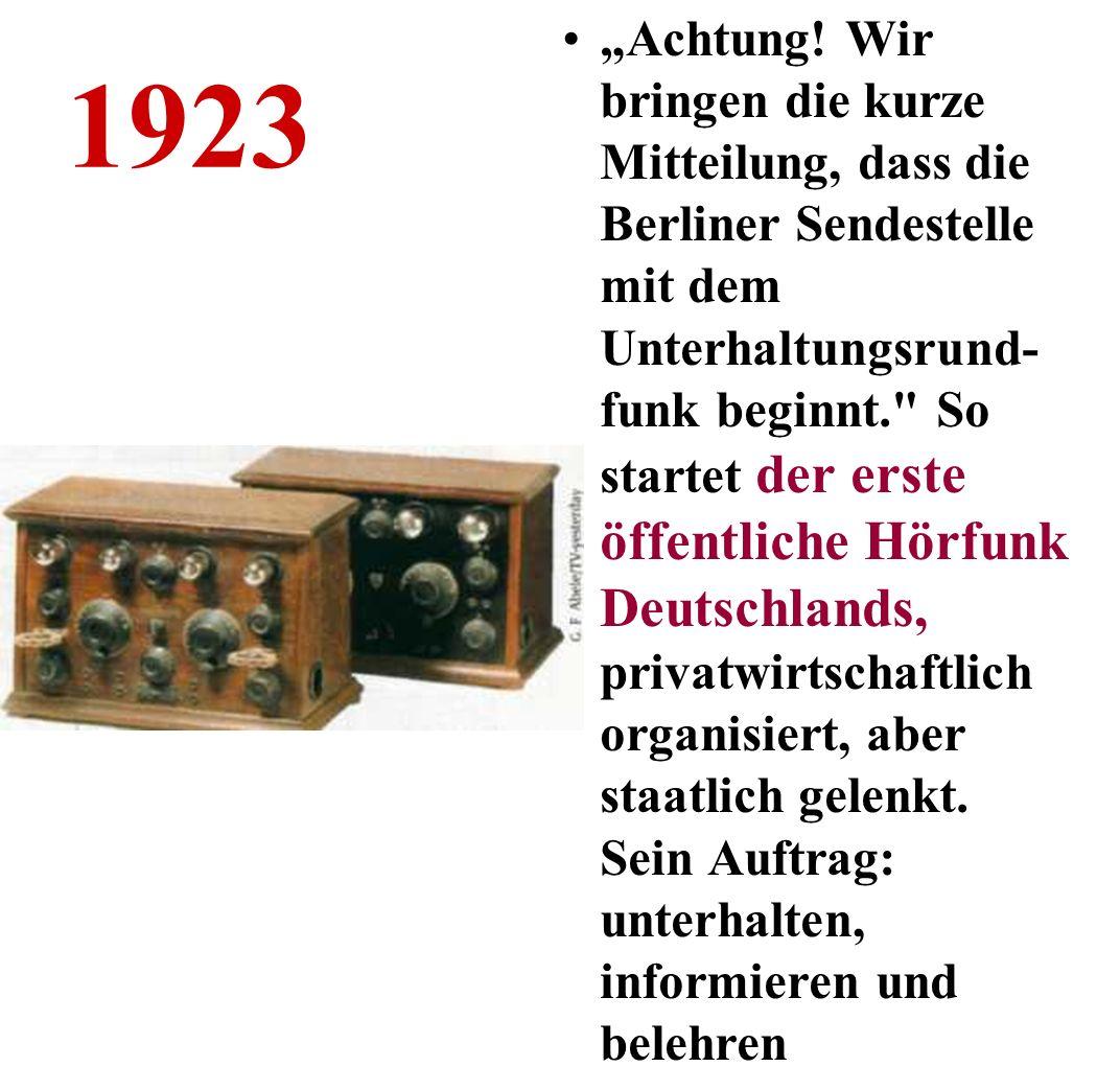 1936 Ein Jahr nachdem in Deutschland das weltweit erste regelmäßige Fernsehprogramm gestartet ist, werden die Olympischen Spiele 1936 mit drei Kameras live übertragen - aber nur in Berlin, in 28 öffentlichen Fernsehstuben