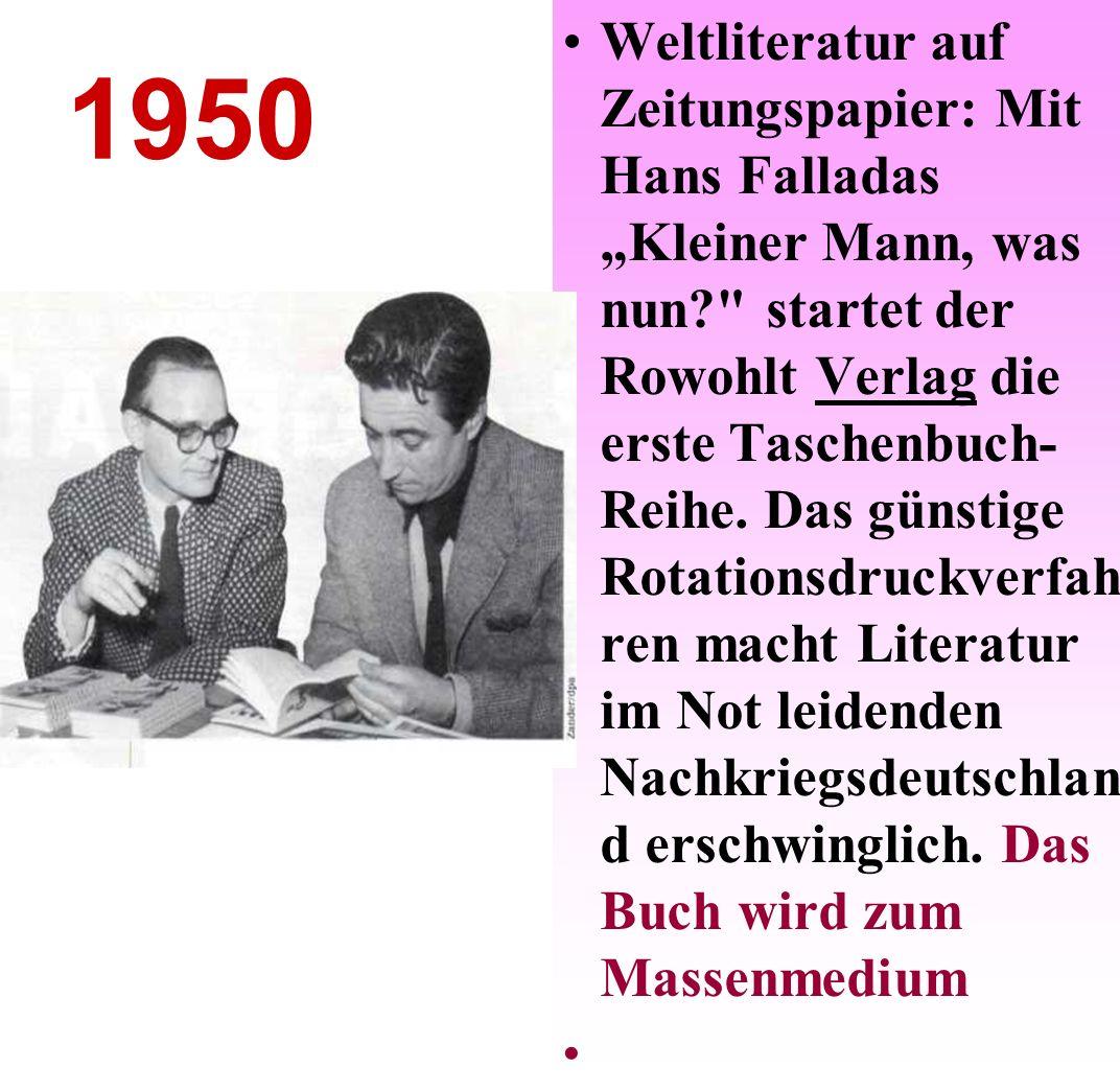 1954 Die neuen Landesrundfunkanstalten schließen sich 1950 zur Arbeitsgemeinschaft öffentlich-rechtlicher Rundfunkanstalten der Bundesrepublik Deutschland (ARD) zusammen und strahlen von 1954 an bundesweit Deutsches Fernsеhen aus.