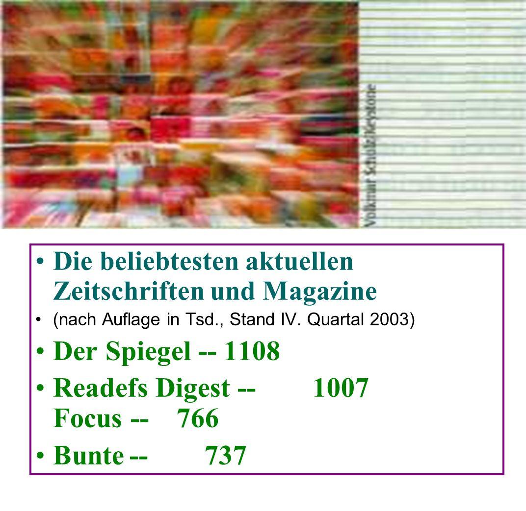 Die Zeitschriften: «Der Spiegel», «Bunte», «Focus», «P. M », «Stern», «Brigitte».