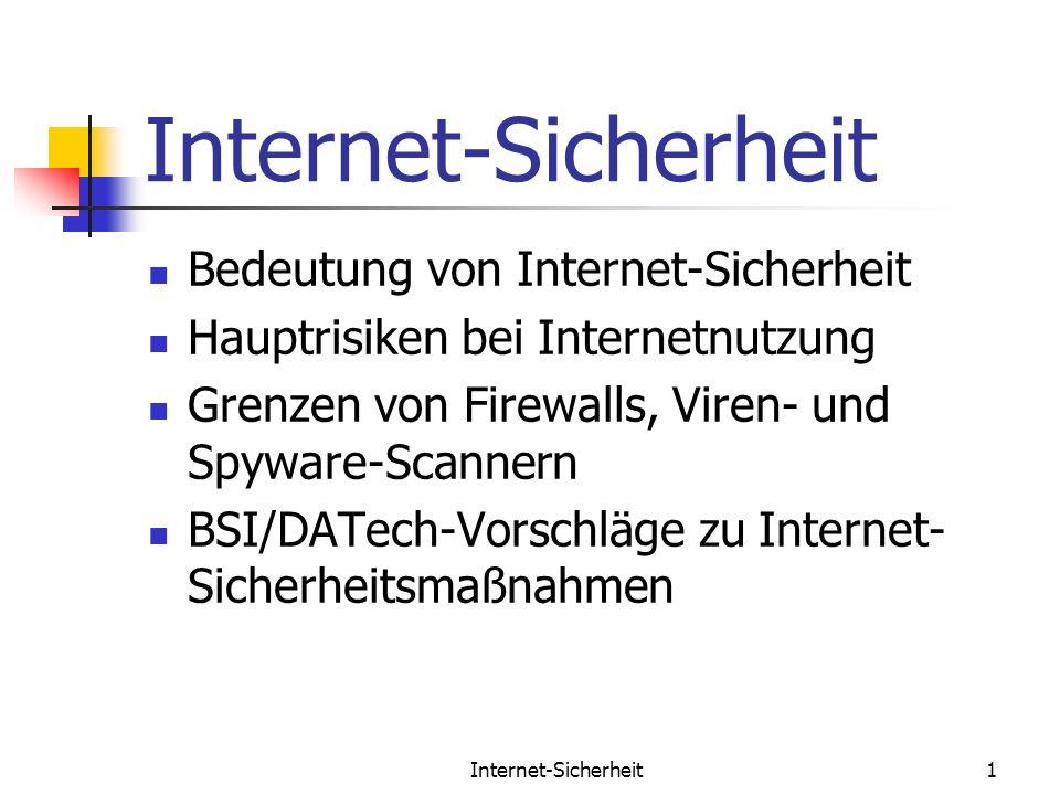 Internet-Sicherheit1 Bedeutung von Internet-Sicherheit Hauptrisiken bei Internetnutzung Grenzen von Firewalls, Viren- und Spyware-Scannern BSI/DATech-