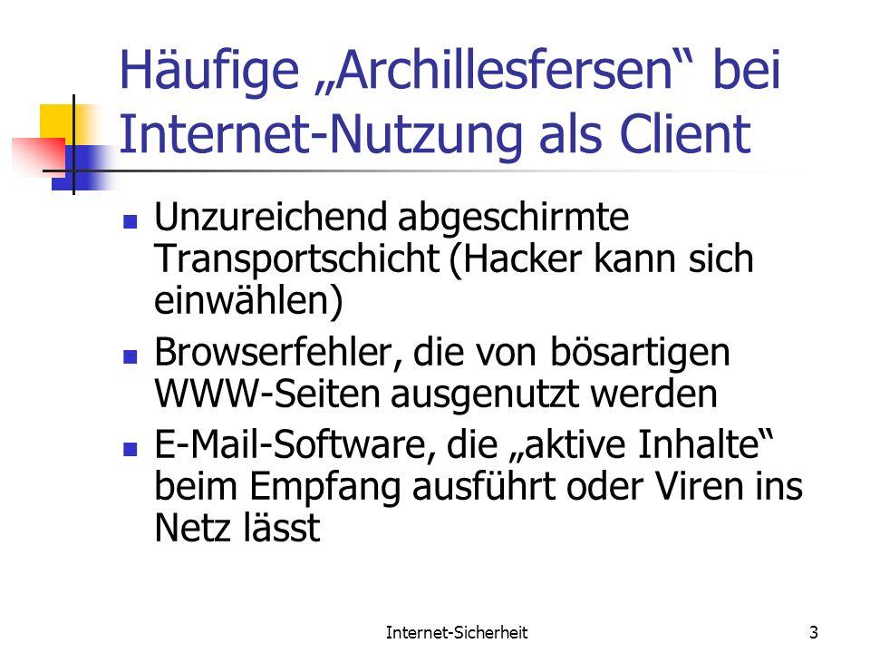 Internet-Sicherheit3 Häufige Archillesfersen bei Internet-Nutzung als Client Unzureichend abgeschirmte Transportschicht (Hacker kann sich einwählen) B
