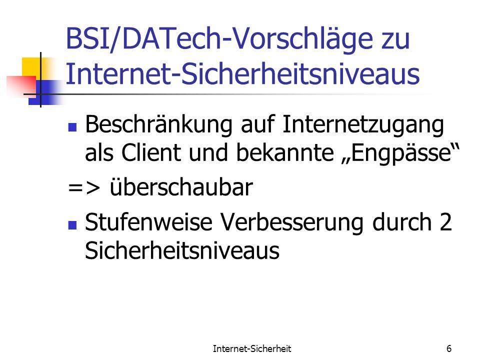 Internet-Sicherheit6 BSI/DATech-Vorschläge zu Internet-Sicherheitsniveaus Beschränkung auf Internetzugang als Client und bekannte Engpässe => überscha