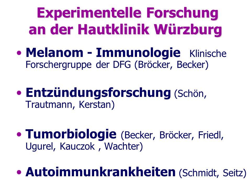 Experimentelle Forschung an der Hautklinik Würzburg Experimentelle Forschung an der Hautklinik Würzburg Melanom - Immunologie Klinische Forschergruppe
