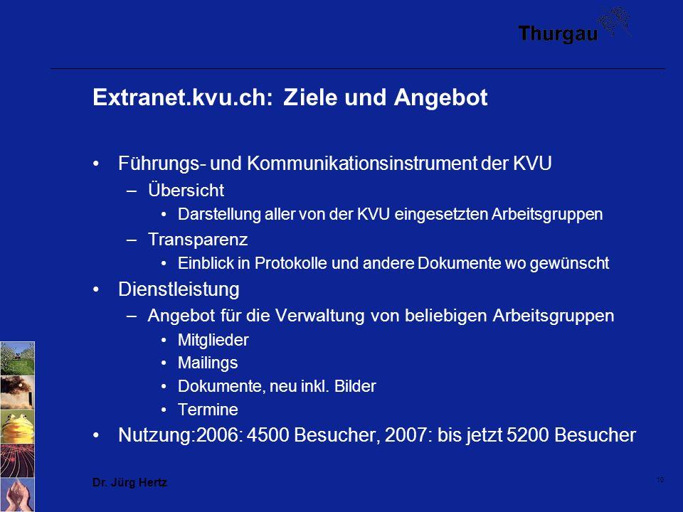 10 Extranet.kvu.ch: Ziele und Angebot Führungs- und Kommunikationsinstrument der KVU –Übersicht Darstellung aller von der KVU eingesetzten Arbeitsgrup