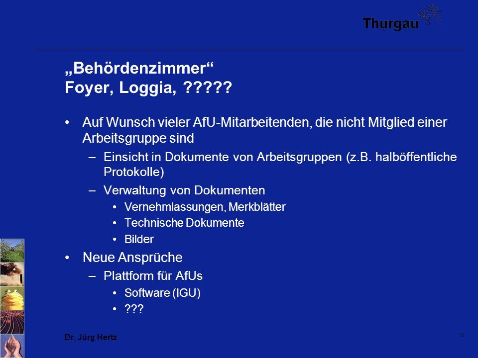 Dr. Jürg Hertz 12 Behördenzimmer Foyer, Loggia, ????? Auf Wunsch vieler AfU-Mitarbeitenden, die nicht Mitglied einer Arbeitsgruppe sind –Einsicht in D