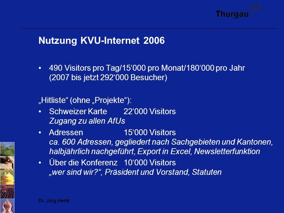 Dr. Jürg Hertz 3 Nutzung KVU-Internet 2006 490 Visitors pro Tag/15000 pro Monat/180000 pro Jahr (2007 bis jetzt 292000 Besucher) Hitliste (ohne Projek