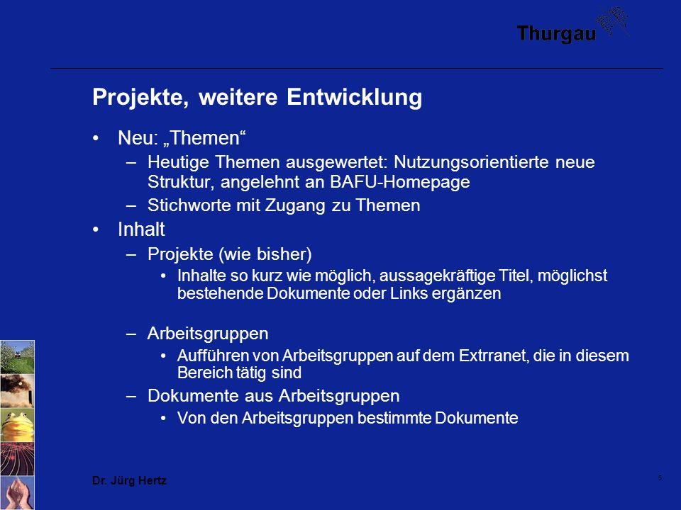 Dr. Jürg Hertz 5 Projekte, weitere Entwicklung Neu: Themen –Heutige Themen ausgewertet: Nutzungsorientierte neue Struktur, angelehnt an BAFU-Homepage