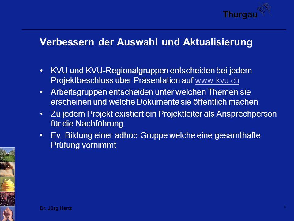 8 Verbessern der Auswahl und Aktualisierung KVU und KVU-Regionalgruppen entscheiden bei jedem Projektbeschluss über Präsentation auf www.kvu.chwww.kvu