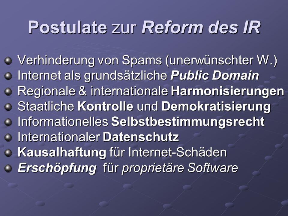 Postulate zur Reform des IR Verhinderung von Spams (unerwünschter W.) Verhinderung von Spams (unerwünschter W.) Internet als grundsätzliche Public Dom