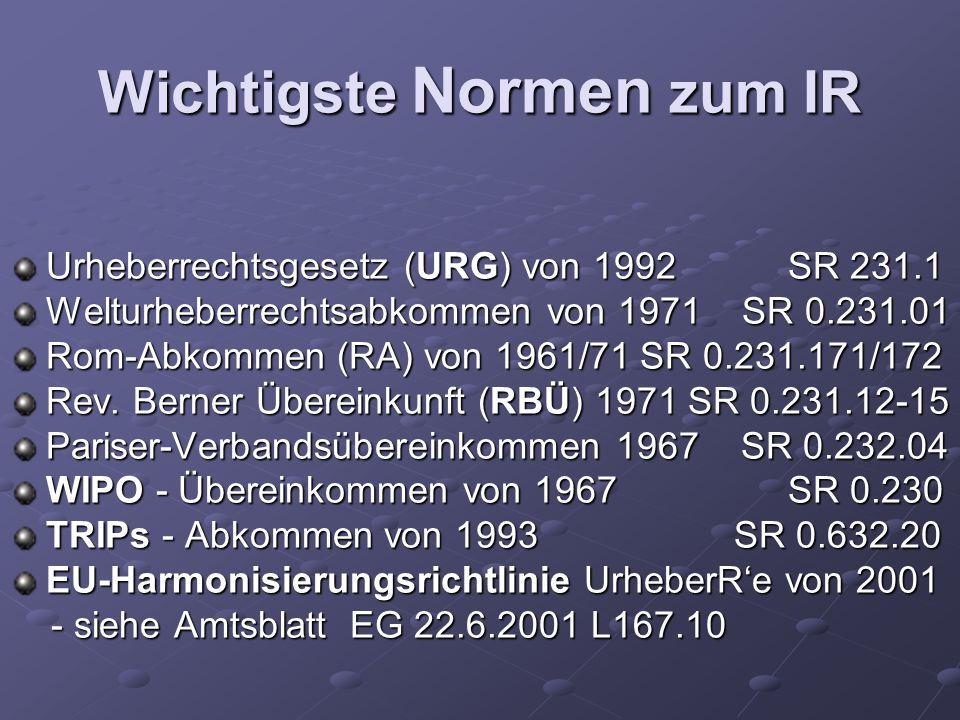 Wichtigste Normen zum IR Urheberrechtsgesetz (URG) von 1992 SR 231.1 Welturheberrechtsabkommen von 1971 SR 0.231.01 Rom-Abkommen (RA) von 1961/71 SR 0