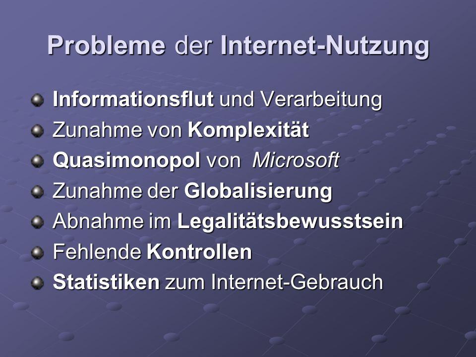 Probleme der Internet-Nutzung Informationsflut und Verarbeitung Informationsflut und Verarbeitung Zunahme von Komplexität Zunahme von Komplexität Quas