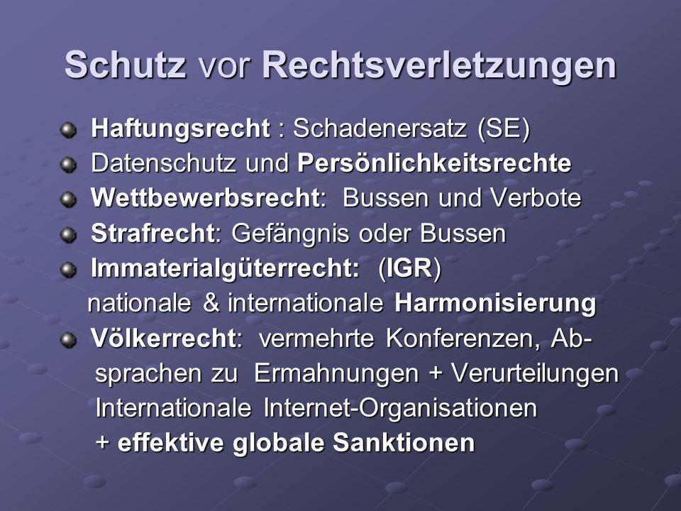 Schutz vor Rechtsverletzungen Haftungsrecht : Schadenersatz (SE) Haftungsrecht : Schadenersatz (SE) Datenschutz und Persönlichkeitsrechte Datenschutz