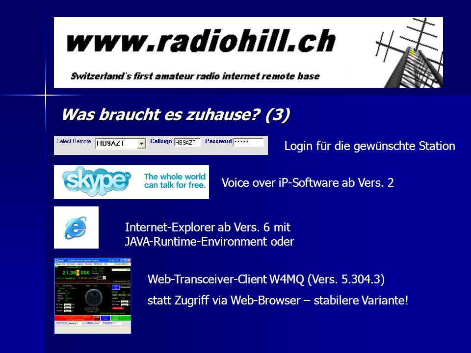Was braucht es zuhause? (3) Internet-Explorer ab Vers. 6 mit JAVA-Runtime-Environment oder Voice over iP-Software ab Vers. 2 Web-Transceiver-Client W4