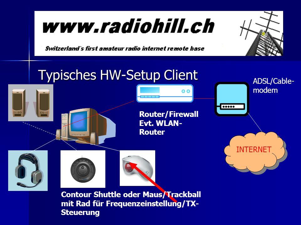 Typisches HW-Setup Client Contour Shuttle oder Maus/Trackball mit Rad für Frequenzeinstellung/TX- Steuerung Router/Firewall Evt. WLAN- Router INTERNET