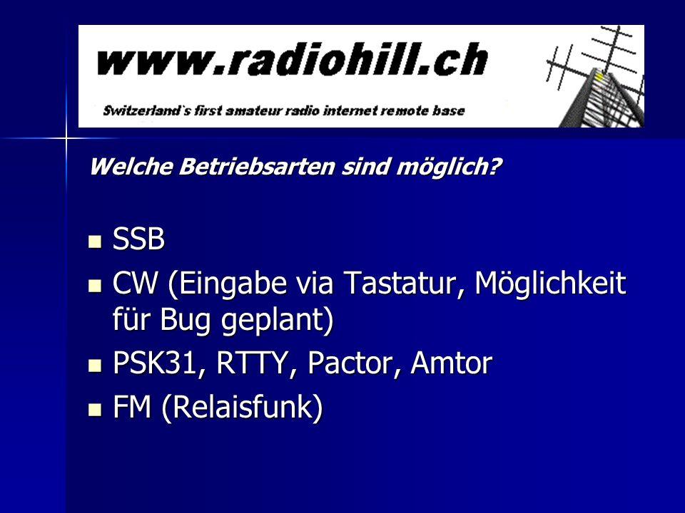Welche Betriebsarten sind möglich? SSB SSB CW (Eingabe via Tastatur, Möglichkeit für Bug geplant) CW (Eingabe via Tastatur, Möglichkeit für Bug geplan