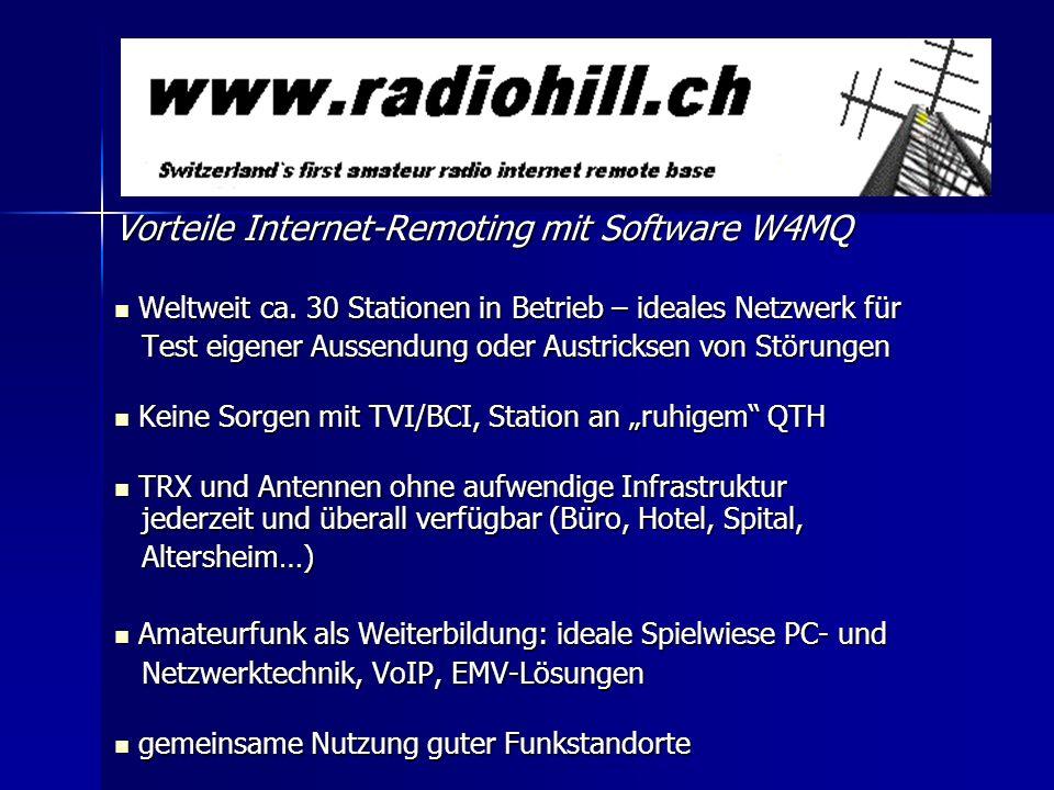 Vorteile Internet-Remoting mit Software W4MQ Weltweit ca. 30 Stationen in Betrieb – ideales Netzwerk für Weltweit ca. 30 Stationen in Betrieb – ideale