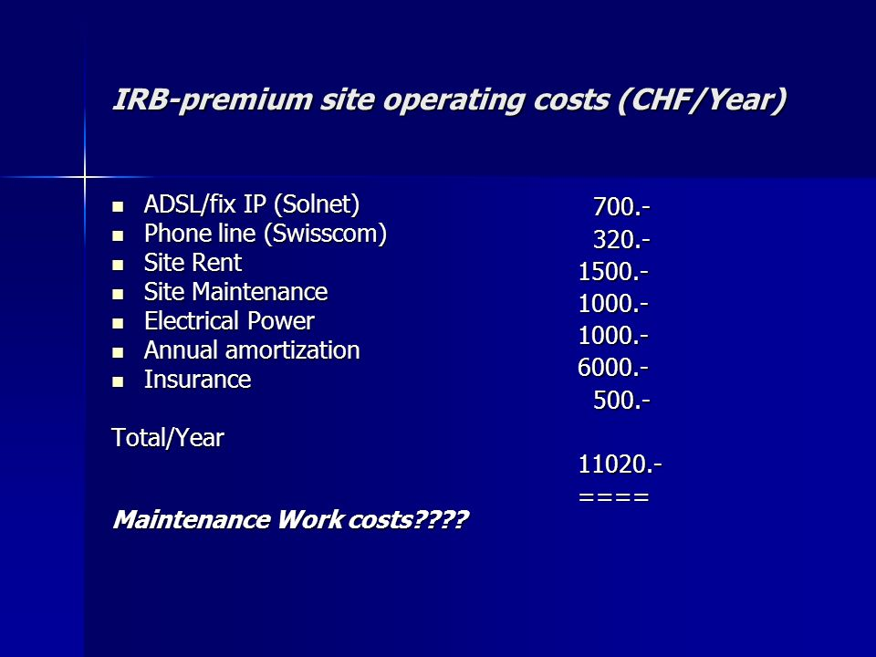 IRB-premium site operating costs (CHF/Year) ADSL/fix IP (Solnet) ADSL/fix IP (Solnet) Phone line (Swisscom) Phone line (Swisscom) Site Rent Site Rent