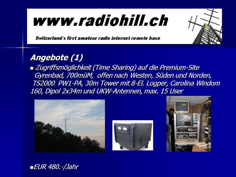 Angebote (1) Zugriffsmöglichkeit (Time Sharing) auf die Premium-Site Gyrenbad, 700müM, offen nach Westen, Süden und Norden, TS2000 PW1-PA, 30m Tower m