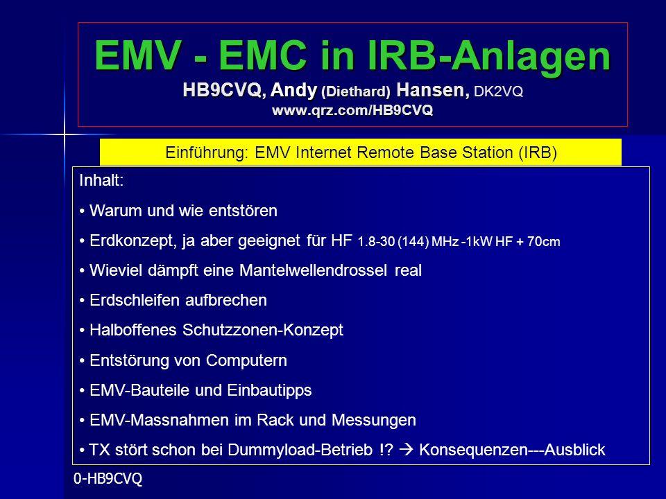 EMV - EMC in IRB-Anlagen HB9CVQ, Andy (Diethard) Hansen, www.qrz.com/HB9CVQ EMV - EMC in IRB-Anlagen HB9CVQ, Andy (Diethard) Hansen, DK2VQ www.qrz.com
