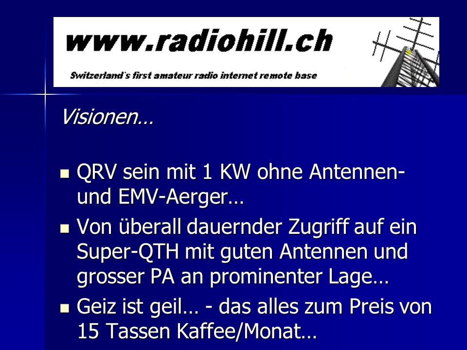 Visionen… QRV sein mit 1 KW ohne Antennen- und EMV-Aerger… QRV sein mit 1 KW ohne Antennen- und EMV-Aerger… Von überall dauernder Zugriff auf ein Supe