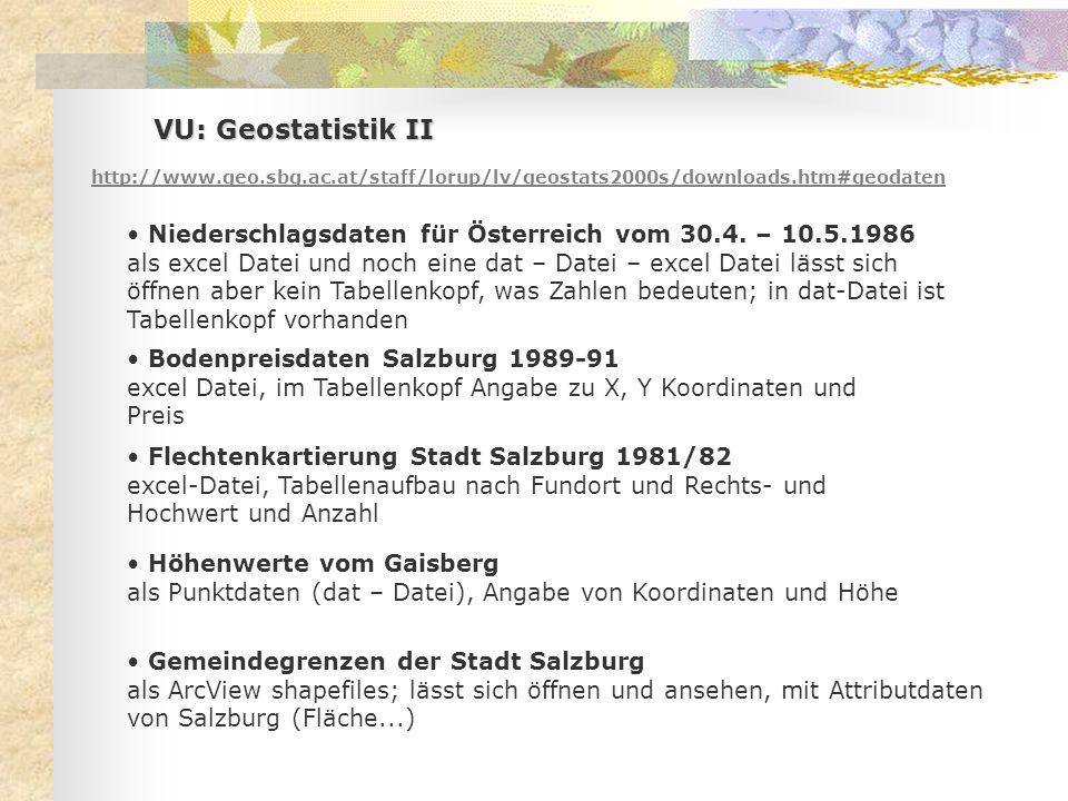 VU: Geostatistik II http://www.geo.sbg.ac.at/staff/lorup/lv/geostats2000s/downloads.htm#geodaten Niederschlagsdaten für Österreich vom 30.4.