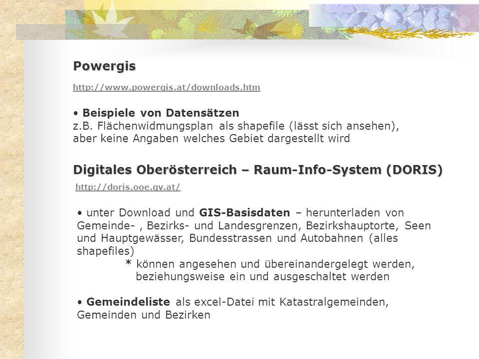 Powergis http://www.powergis.at/downloads.htm Beispiele von Datensätzen z.B. Flächenwidmungsplan als shapefile (lässt sich ansehen), aber keine Angabe