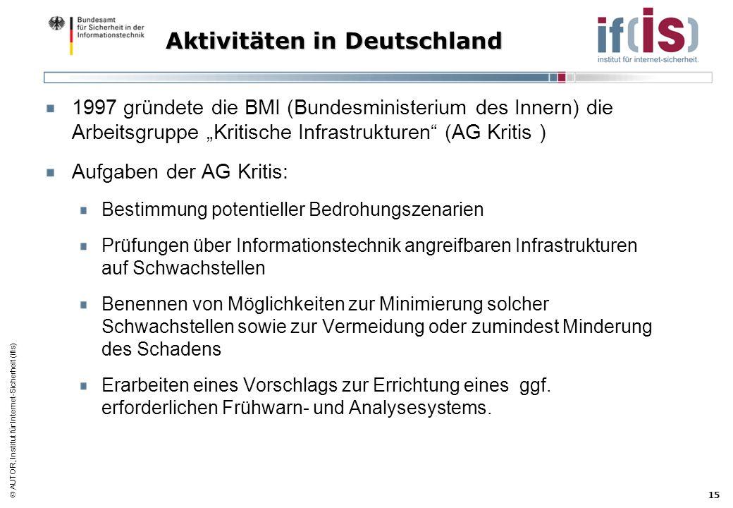 AUTOR, Institut für Internet-Sicherheit (ifis) 15 Aktivitäten in Deutschland 1997 gründete die BMI (Bundesministerium des Innern) die Arbeitsgruppe Kr