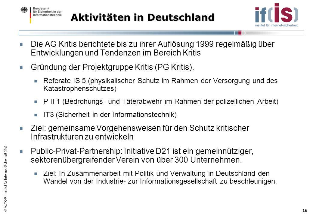 AUTOR, Institut für Internet-Sicherheit (ifis) 16 Aktivitäten in Deutschland Die AG Kritis berichtete bis zu ihrer Auflösung 1999 regelmäßig über Entw