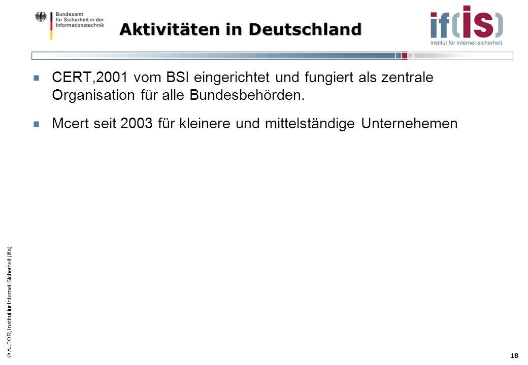 AUTOR, Institut für Internet-Sicherheit (ifis) 18 Aktivitäten in Deutschland CERT,2001 vom BSI eingerichtet und fungiert als zentrale Organisation für