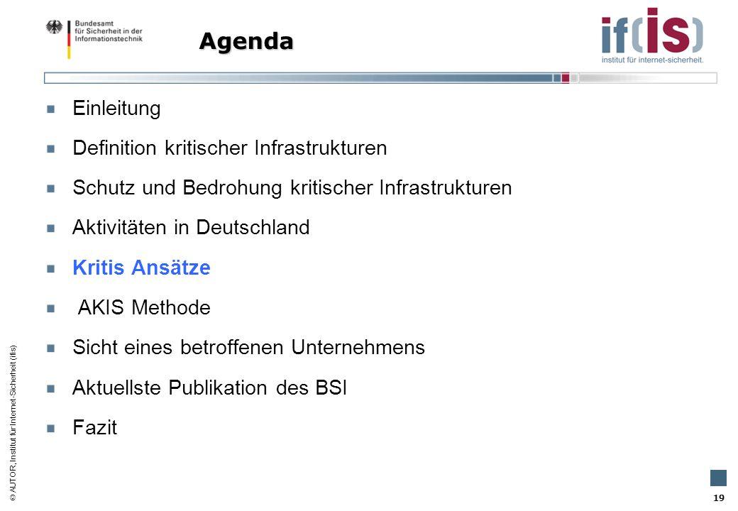 AUTOR, Institut für Internet-Sicherheit (ifis) 19 Einleitung Definition kritischer Infrastrukturen Schutz und Bedrohung kritischer Infrastrukturen Akt