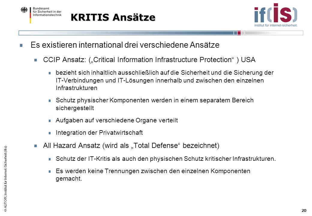 AUTOR, Institut für Internet-Sicherheit (ifis) 20 KRITIS Ansätze Es existieren international drei verschiedene Ansätze CCIP Ansatz: (Critical Informat