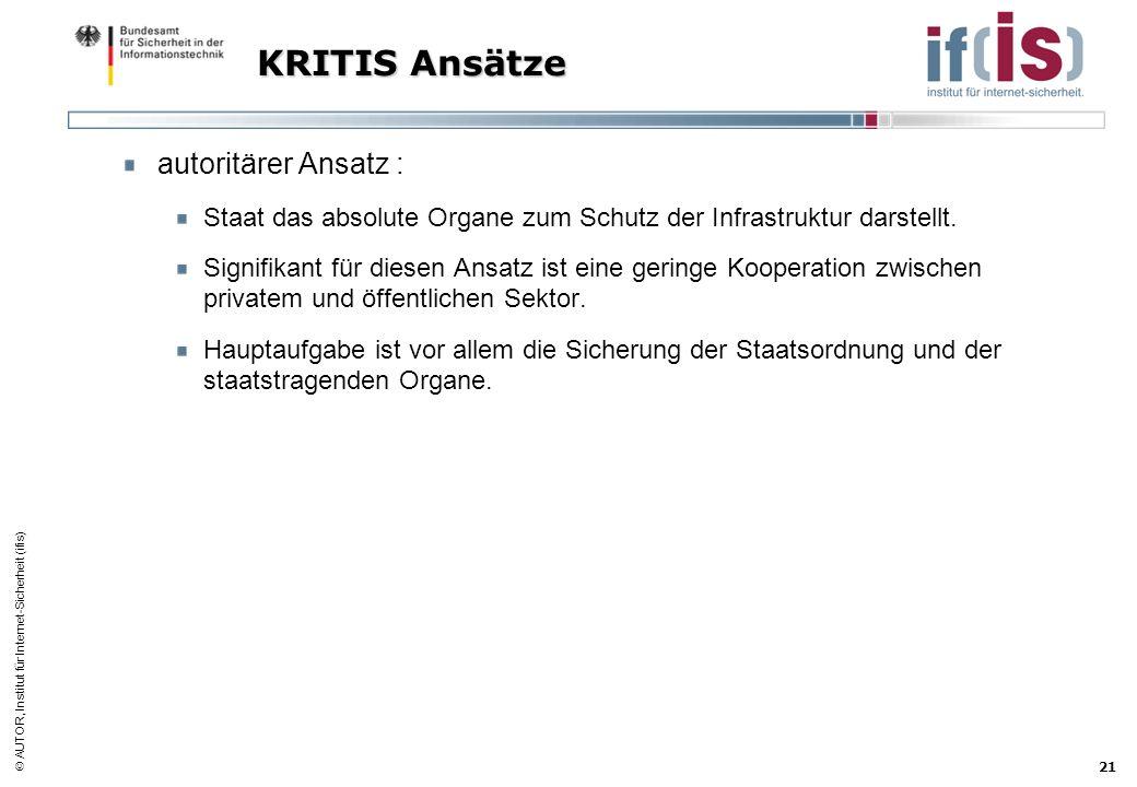 AUTOR, Institut für Internet-Sicherheit (ifis) 21 KRITIS Ansätze autoritärer Ansatz : Staat das absolute Organe zum Schutz der Infrastruktur darstellt