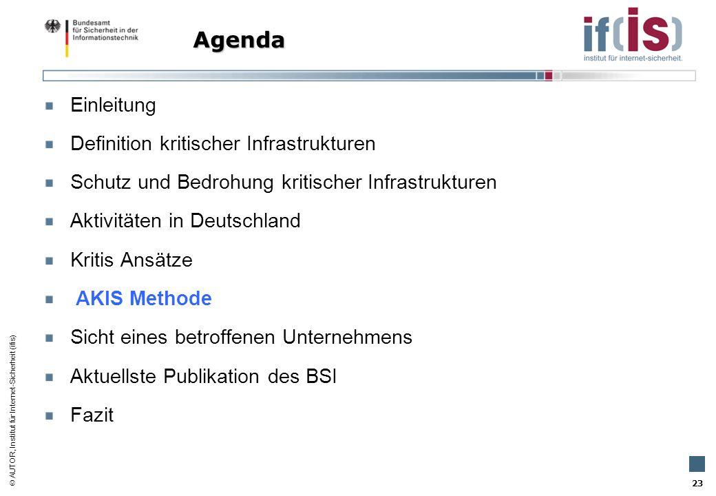 AUTOR, Institut für Internet-Sicherheit (ifis) 23 Einleitung Definition kritischer Infrastrukturen Schutz und Bedrohung kritischer Infrastrukturen Akt