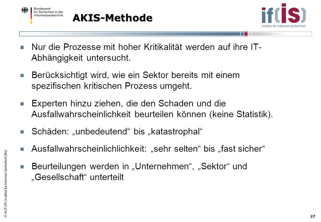AUTOR, Institut für Internet-Sicherheit (ifis) 27 AKIS-Methode Nur die Prozesse mit hoher Kritikalität werden auf ihre IT- Abhängigkeit untersucht. Be