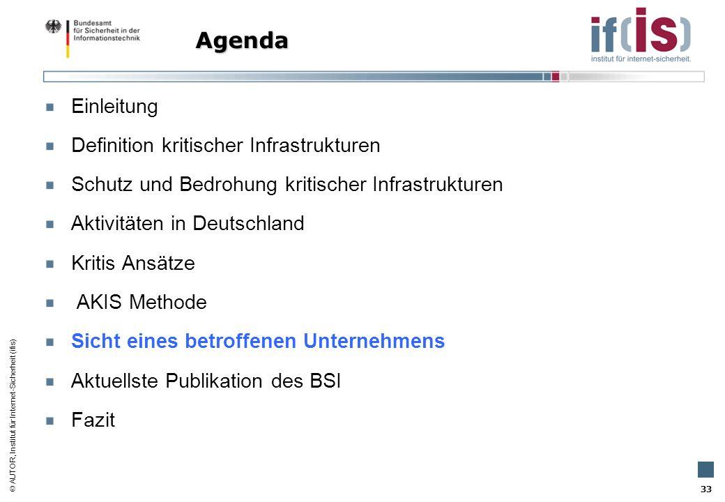 AUTOR, Institut für Internet-Sicherheit (ifis) 33 Einleitung Definition kritischer Infrastrukturen Schutz und Bedrohung kritischer Infrastrukturen Akt