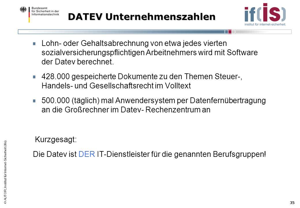 AUTOR, Institut für Internet-Sicherheit (ifis) 35 DATEV Unternehmenszahlen Lohn- oder Gehaltsabrechnung von etwa jedes vierten sozialversicherungspfli