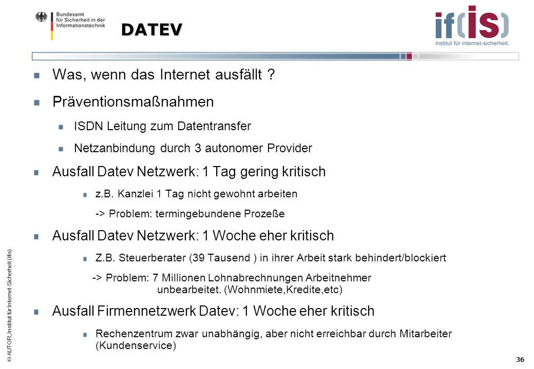AUTOR, Institut für Internet-Sicherheit (ifis) 36 DATEV Was, wenn das Internet ausfällt ? Präventionsmaßnahmen ISDN Leitung zum Datentransfer Netzanbi
