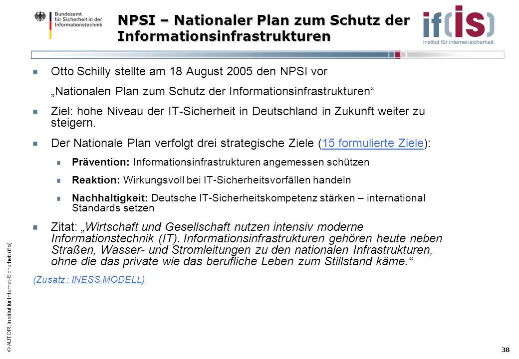 AUTOR, Institut für Internet-Sicherheit (ifis) 38 NPSI – Nationaler Plan zum Schutz der Informationsinfrastrukturen Otto Schilly stellte am 18 August