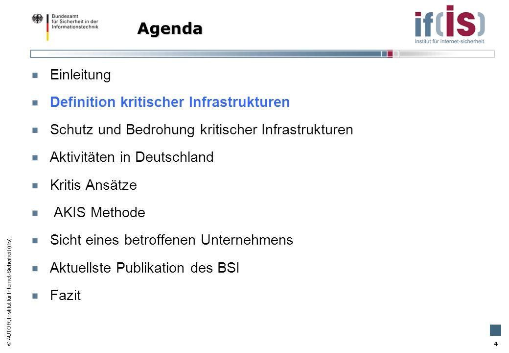 AUTOR, Institut für Internet-Sicherheit (ifis) 4 Einleitung Definition kritischer Infrastrukturen Schutz und Bedrohung kritischer Infrastrukturen Akti